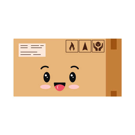 Cute parcel box character icon isolated on white background. Cardboard closed sealed with tape boxe with packaging sing mascot delivery package. Vector flat design cartoon style illustration.