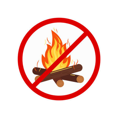 No bonfire or camping sign isolated on white background. Colorfull prohibition open flame campfire symbol. Burning bonfire with sparks, wood logs in red crossed circle. Vector flat design illustration