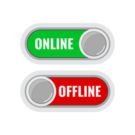 Online and offline contact or work icon set isolated on white background. Green online live and red offline button indicators with round slider collection. Flat design cartoon style vector illustation Illusztráció