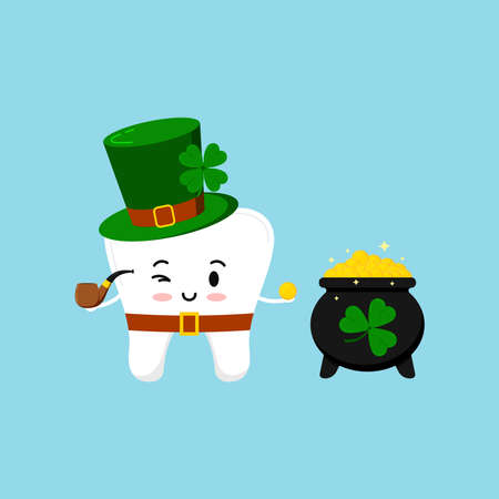 St Patrick cute tooth in leprechaun costume with pot of gold. Dental tooth irish character with black cauldron with money, clover, pipe, green hat, shamrock. Flat design cartoon vector illustration. Illusztráció