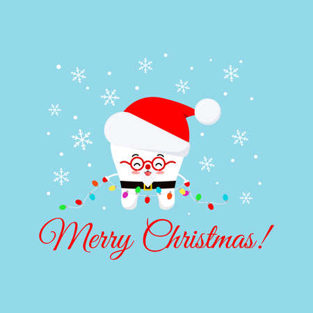 Cute Christmas tooth in Santa Claus costume on dentist greeting card. White winter tooth character in red santa hat, beard, mustache, glasses. Flat design cartoon style xmas vector illustration.