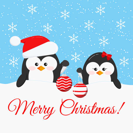 Merry Christmas card - cute penguin boy and girl with x-mas ball - penguin in Santa Claus red christmas hat and head bow accessory on snowy background.