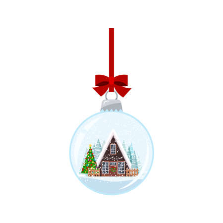Christmas ball with decorated house and xmas tree isolated on white background. Hanging on red ribbon with bow crystal snow ball bauble. Vector flat cartoon style new year holiday illustration.
