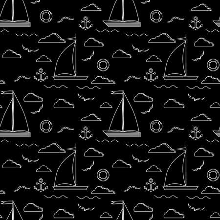Sail boat seamless pattern in line art style. Nautical print with white line one two sails sailboat, clouds, anchor, wave, lifebuoy, gull on the black background. Vector illustration endless texture.