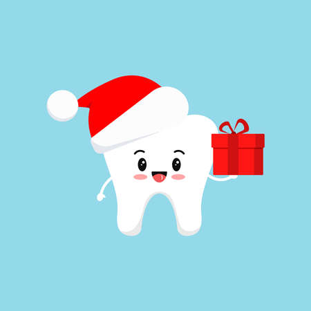 Chistmas tooth with gift in red Santa Claus hat icon isolated on background. Dental holiday character - white funny tooth with present. Flat design cartoon style vector stomatology  illustration.