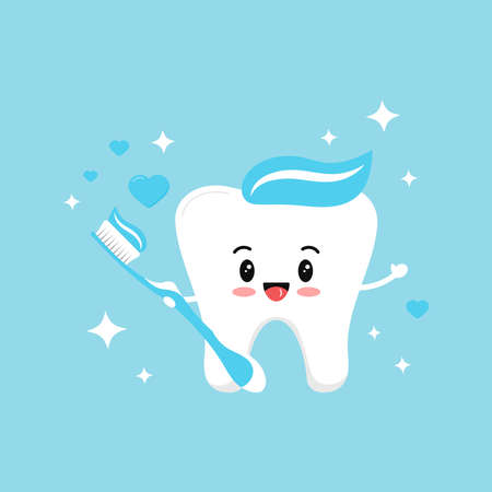 Cute tooth boy in love with blue toothbrush with paste hearts and sparkles. Flat design cartoon sweet smiling character vector illustration. Happy love tooth hold brush. Children teeth hygiene concept