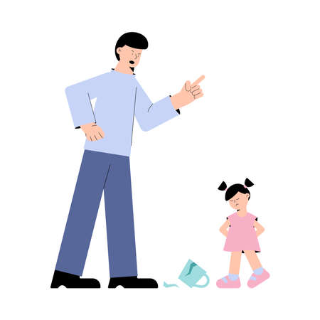 Frustrated father screams at little daughter over a broken cup isolated on white background. Problems of parenting concept - stressed parents and child. Illusztráció