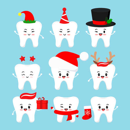 Chistmas smilling teeth dental icon set isolated. Dentist xmas cute white tooth character in santa hat, deer horns, elf, with christmas gift, red sock. Illusztráció