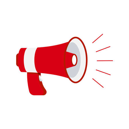 Megaphone loudspeaker icon isolated on white background. Red loud speaker sign for announce, hot news, advertising. Flat design cartoon style coming soon news announcement horn vector illustration. Illusztráció