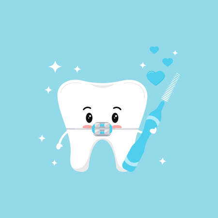Cute tooth with dental braces in love with interdental brush in hand hearts and sparkles. Flat design cartoon happy dentist character vector illustration. Children teeth hygiene concept.