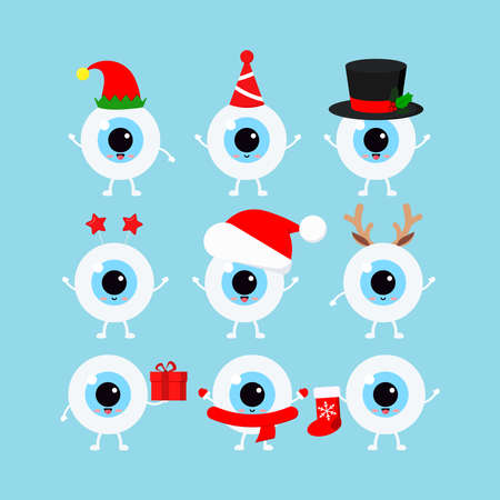 Chistmas eye, eyeball icon set isolated on background. Ophthalmology xmas winter health eyes character in santa hat, deer horns, elf, christmas gift, red sock. Flat design cartoon vector illustration. Illusztráció