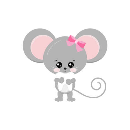 Cute mouse hold baby tooth in paws isolated on white background. Funny little mice girl took milk tooth concept. Flat design adorable rat cartoon dental character vector illustration. Illusztráció