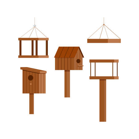 Wooden birdhouse feeder icon set isolated on white background. Nesting box with hole and roof - spring time symbol. Flat design cartoon style starling house vector illustration.