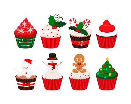Christmas cupcakes set - cute winter sweets food. Xmas icing muffin santa claus hat, snowman, christmas tree, sugar cream with mistletoe, giengerbread man. Flat cartoon dessert vector illustration.