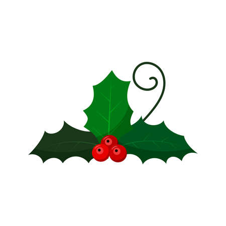 Mistletoe with berry and leaf branch isolated on white background. Flat design cartoon Christmas, New Year holiday celebration symbol. Holly branch with red berries green leaves vector illustration. Illusztráció