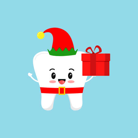Chistmas tooth with gift in elf costume with red hat and belt icon isolated on background. Dental holiday character white funny tooth with present. Flat design cartoon vector dentistry design element.