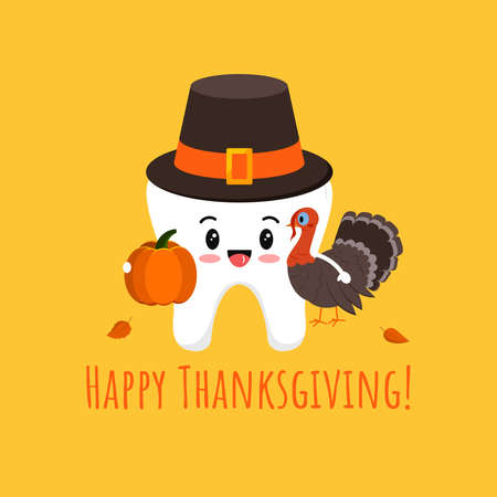 Thanksgiving tooth in pilgrim hat with pumpkin and turkey isolated vector icon. White tooth in carnival costume - dental character for dentist card. Flat design cartoon kawaii style illustration. Illusztráció