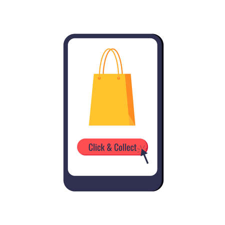 Click and collect online retail icon isolated on white background. Ecommerce parcel shopping bag on tablet screen with button click collect and arrow. Flat cartoon buy and pick vector illustration