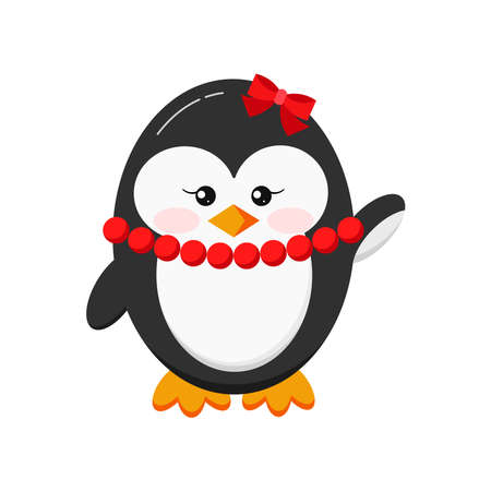 Sweet funny cute baby girl penguin with red beads and bow icon in standing hi pose isolated on white background. Flat design cartoon style waving antarctic bird toy, animal vector illustration.