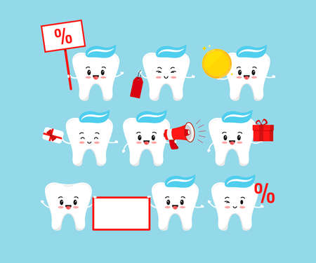Cute tooth sale discount and dental offer sign set isolated on background. Teeth with percentage, coin, label, megaphone, gift card, gift, banner flat design cartoon vector advertising illustration.