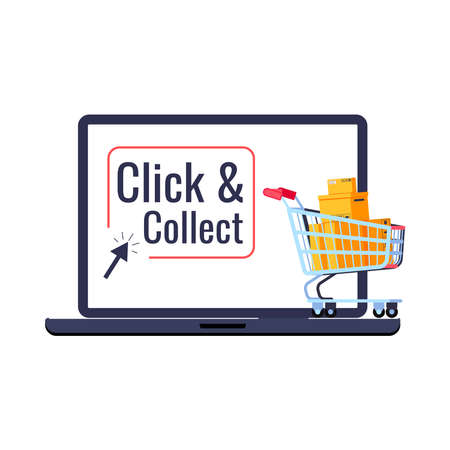Click and collect retail delivery icon isolated on white background. Supermarket trolley cart with parcels box on laptop button click collect and arrow. Flat cartoon buy and pick vector illustration