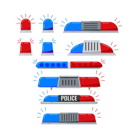 Police car light flashers vector icon set isolated on white background. Red and blue color alert flashing lights in flat cartoon style. Siren police rescue or ambulance light illustration.