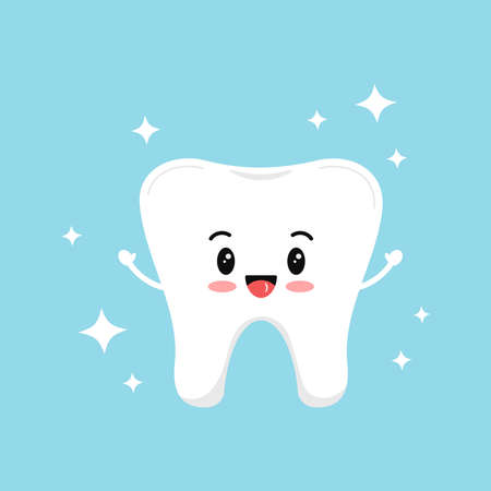 Cute strong tooth molar with sparkles. Flat design cartoon style smiling healthy character vector illustration. Happy white tooth isolated on background. Children teeth hygiene and whitening concept.