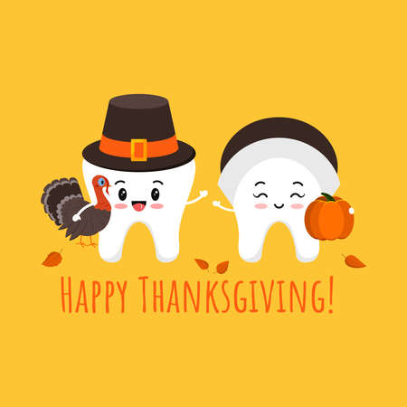 Thanksgiving tooth boy and girl in pilgrim hat with pumpkin and turkey in hand. White teeth in carnival costume - dental character for dentist card. Flat design cartoon style vector illustration.