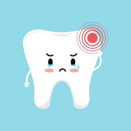 Tooth with pain ache dental icon isolated on blue background. Cute sick teeth character. Flat cartoon kids dentistry character with hurt vector illustration. Dent hygiene, prevention treatment concept