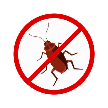 No cockroach sign in red crossed circle vector icon isolated on white background. Stop pest brown roach bug symbol. Flat design cartoon style no insect illustration.