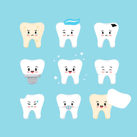 Cute teeth dental kids icon set. Tooth collection - plaque, caries hole, implant, clean healthy, crown, chipped, in braces and veneer. Vector flat design style kid tooth character illustration