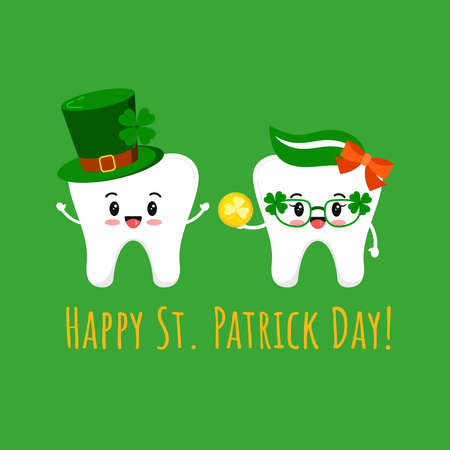 St Patrick cute teeth in leprechaun hat and in glasses with gold coin. Dental tooth irish character with lucky money, clover on green hat. Flat design cartoon vector Happy paddy s day illustration.