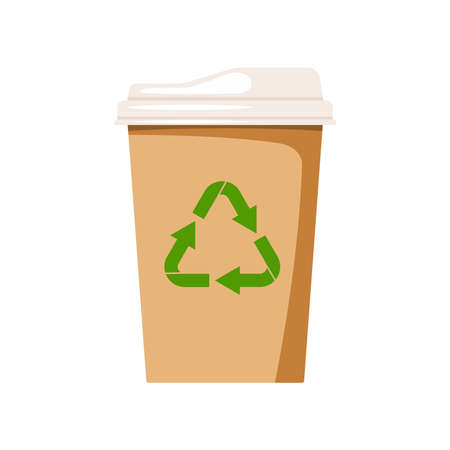 Coffee to go eco cup isolated on white background. Eco friendly paper tableware with recycling sign for takeout hot drink - tea or coffee. Flat design cartoon cafe to go clipart vector illustration. 矢量图像