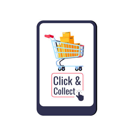 Click and collect delivery retail icon isolated on white background. Buy and pick concept shopping cart on tablet screen with click collect and arrow. Flat design cartoon style vector illustration