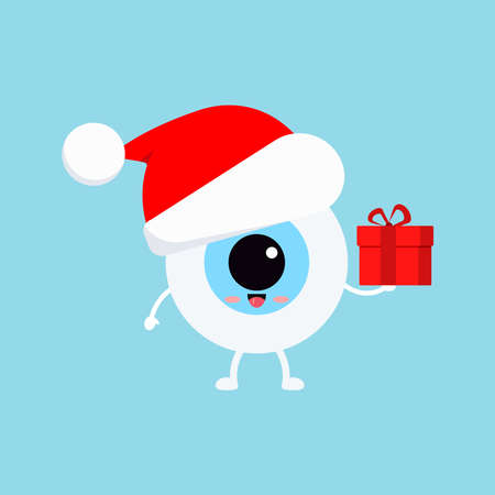 Chistmas eye ball with gift in red Santa Claus hat isolated on background. Ophthalmology holiday character - funny eyeball with present. Flat design cartoon style vector winter mascot illustration. Ilustração Vetorial