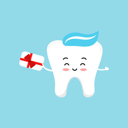 Tooth with gift bonus card. Dentistry loyalty program concept. Cute dental teeth character hold special voucher with red bow. Flat design cartoon style vector advertising offer illustration.