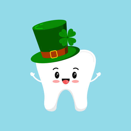 St Patrick day happy tooth in green leprechaun hat. Cute dental tooth irish character with gnome cylinder hat. Flat design cartoon style dentist celebration vector illustration.