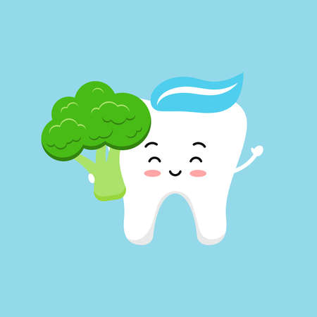 Cute tooth with broccoli. Strong smile white tooth with vegetable food for dental health. Children hygiene and eating clipart. Flat design cartoon dentistry character vector illustration.