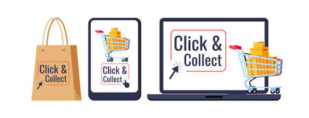 Click and collect retail delivery set isolated on white background. Supermarket trolley cart, parcels box on laptop smartphone bag click collect, arrow. Flat cartoon buy and pick vector illustration