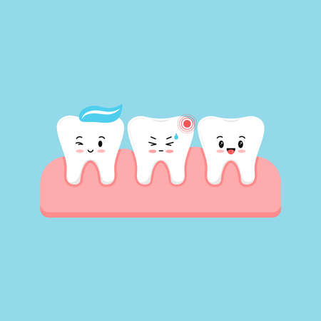 Cute tooth with ache pain and healthy in gum isolated on blue background. Sick kids teeth, dent hygiene, prevention treatment concept. Flat design cartoon style vector dental character illustration.