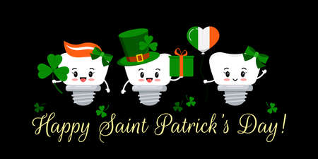St Patrick day teeth dental implant on dentistry greeting card. Tooth irish character with gift, lucky clover on green hat, flag colors balloon. Flat cartoon vector Happy paddy s day illustration.