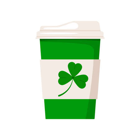 St Patrick day coffee cup with shamrock. Hot drink coffee or tea take away cafe mug with good luck irish charm trefoil clover isolated on white background. Vector flat coffee to go cup icon.