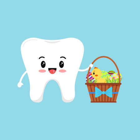 Cute tooth with easter backet with eggs and chick dental icon isolated on background. Dentist white teeth easter character with holiday gift. Flat cartoon vector kids dentistry clip art illustration.