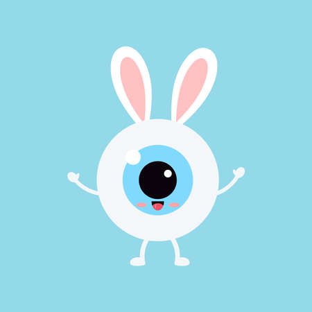 Easter cute bunny eye ball icon. Ophthalmology eyeball character with easter bunny ears costume. Flat design cartoon style vector vision clip art illustration.