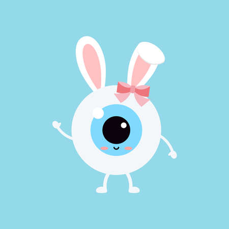 Easter cute eye ball with bunny ears icon. Ophthalmology eyeball girl character with face and easter bunny rabbit ears costume with bow. Flat design cartoon style vector vision clip art illustration. 向量圖像