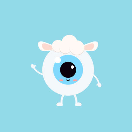 Easter cute eye ball in sheep costume icon. Ophthalmology easter eyeball character with lamb sheep s ears and wool on head. Flat design cartoon style vector vision clip art illustration. 向量圖像