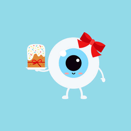 Easter cute eye ball easter cake icon. Ophthalmology easter eyeball character with sweet decorated cake. Flat design cartoon style vector vision clip art illustration. 向量圖像