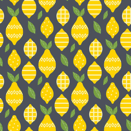 Lemon summer fruit with ornament seamless pattern on dark background. Fresh yellow tropical citrus vector textile print illustration. Simple flat design cartoon organic healthy food seamless texture.