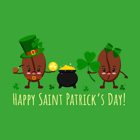 St Patrick day coffee beans in leprechaun costume, pot with gold, clover. Coffee grain smilling character in leprechaun hat with shamrock clover and cauldron. Flat design cartoon vector illustration.