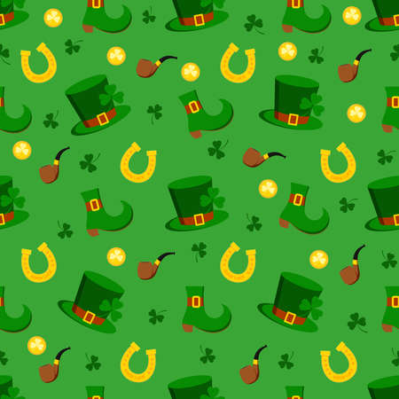 St. Patrick s day seamless pattern. Holiday print with green lucky clover or shamrock clover, horseshoe, leprechaun hat, shoe, pipe. Flat design cartoon style vector patrick endless texture for Irish. 向量圖像